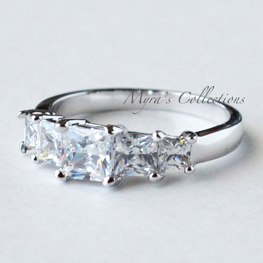 2 52ct Princess Cut 5 Stone Anniversary Wedding Engagement Ring Women s S