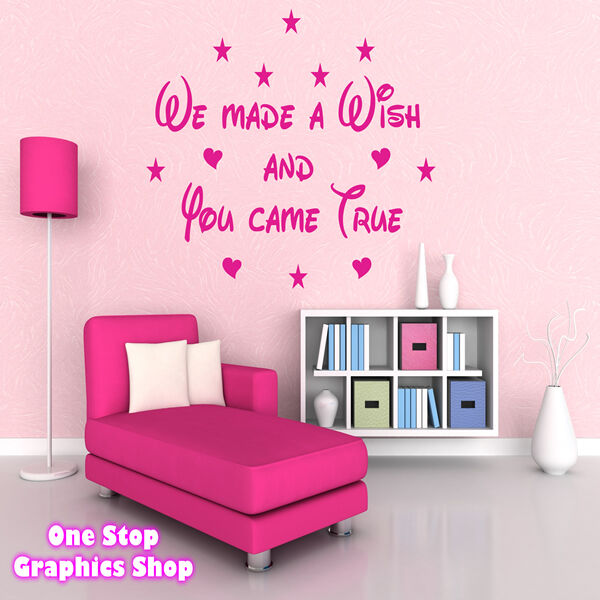 We made a wish wall art quote sticker disney bedroom for Disney wall stencils for painting kids rooms