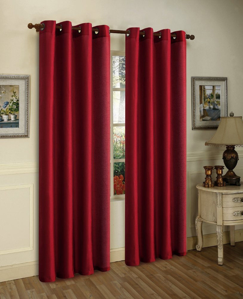 2 Panels Blackout Lined Backing Silk Window Drapes Curtain