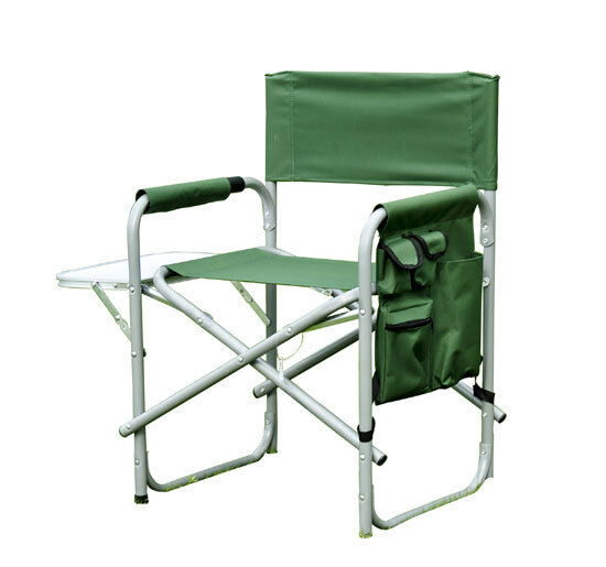 New Outdoor Folding Fishing Director Camping Chair W Side Table Pockets Green