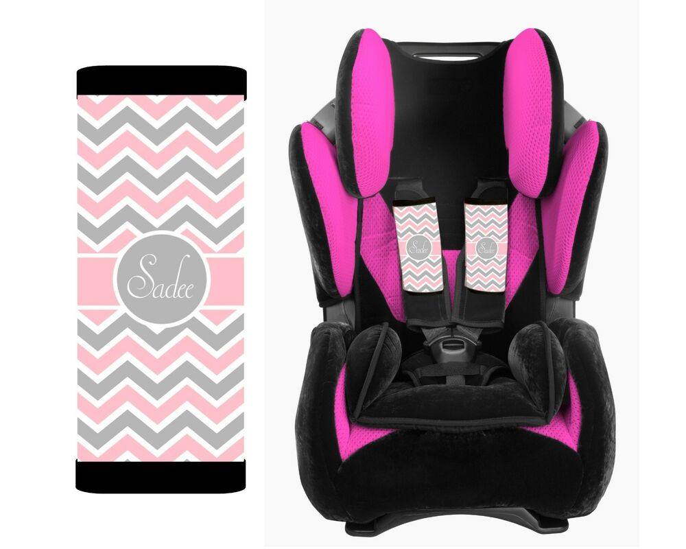 personalized baby toddler car seat strap covers pink gray white chevron ebay. Black Bedroom Furniture Sets. Home Design Ideas