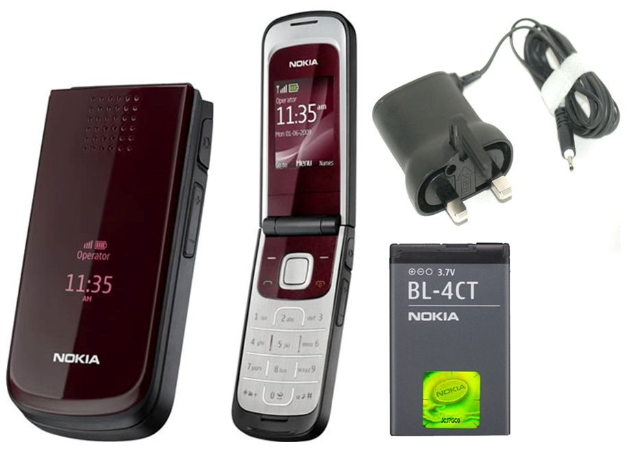 New Condition Nokia 2720 Red Flip Fold Big Button Big ...