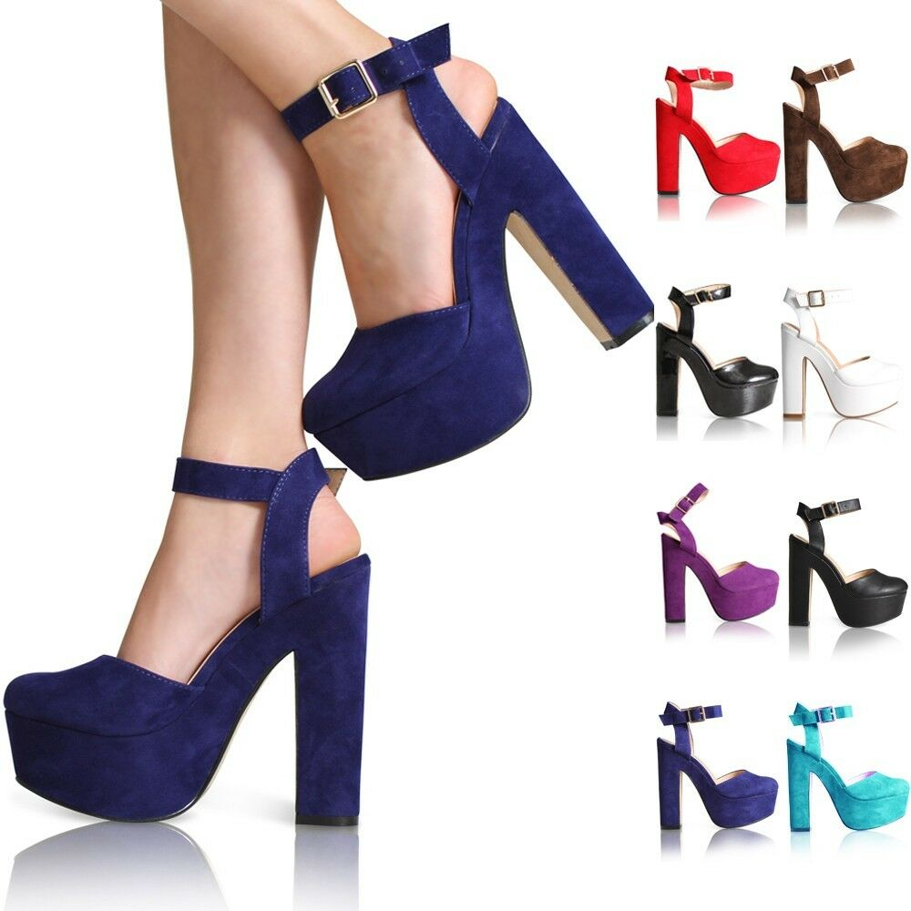 One Strap Over High Heel Navy Shoes