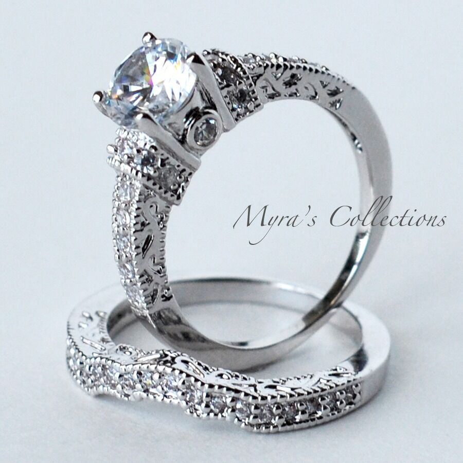 320CT VINTAGE FILIGREE BRIDAL WEDDING ENGAGEMENT RING BAND SET WOMENS SIZE 7