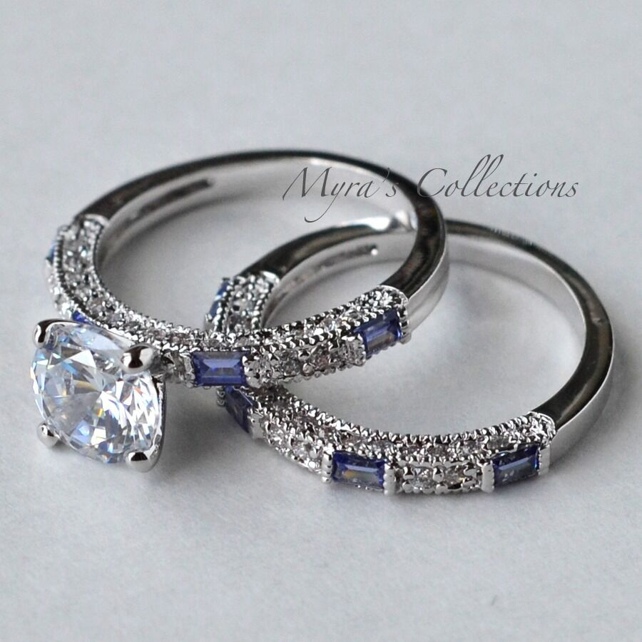 27CT TANZANITE CZ PURPLE BRIDAL WEDDING ENGAGEMENT RING BAND SET WOMENS SIZE 8