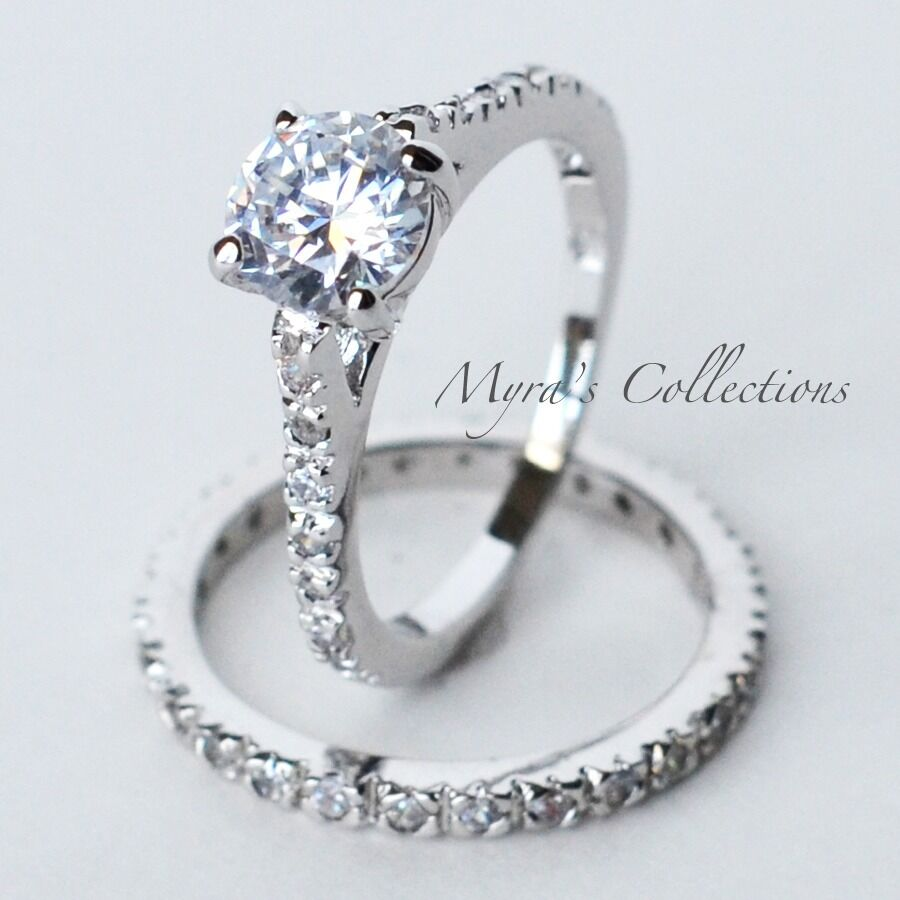 245ct eternity style bridal wedding engagement ring band for Wedding rings sets for women