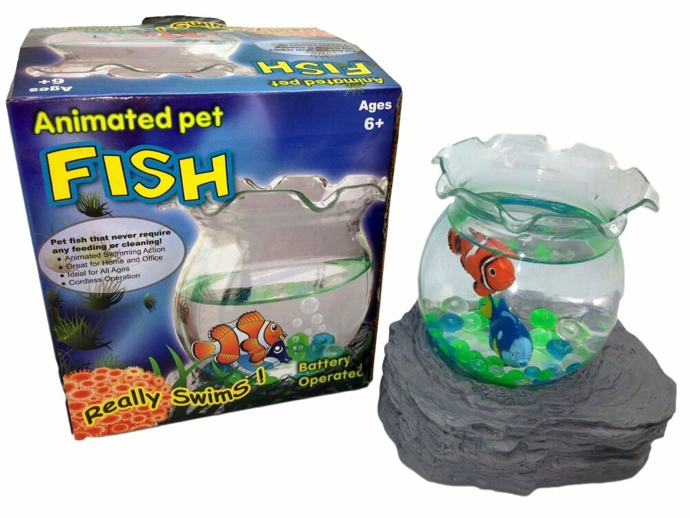 Battery operated magic fake fish bowl animated pet for Battery operated fish