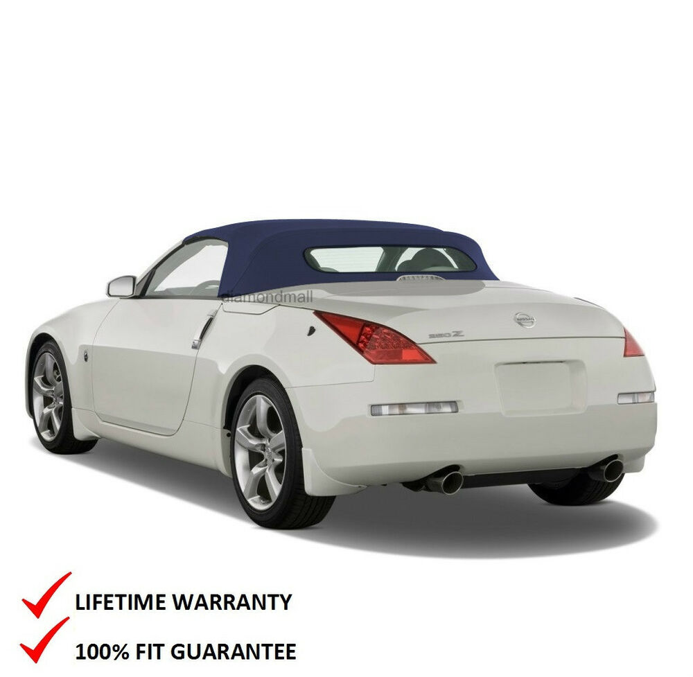 fits nissan 350z convertible soft top with heated glass window blue twill ebay. Black Bedroom Furniture Sets. Home Design Ideas