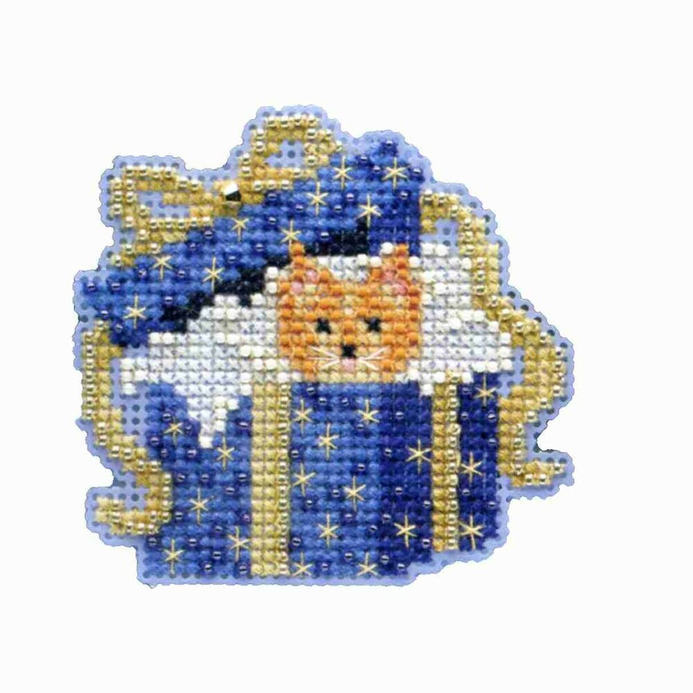 cat in the box beaded cross stitch kit mill hill 2014