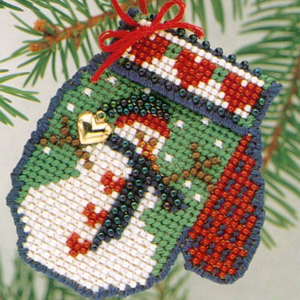 frosty mitten beaded cross stitch kit mill hill 2004
