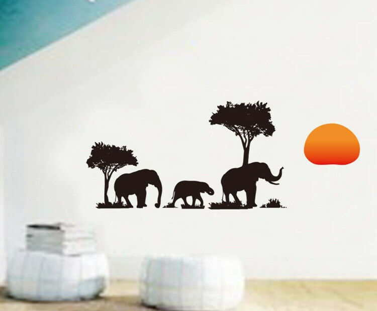 African Safari Elephant Bird Animal Sunset Tree Wall Decal
