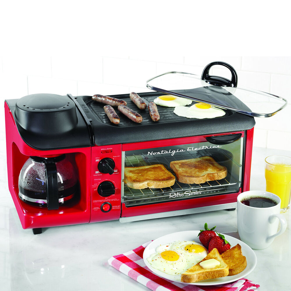 3-in-1 Breakfast Station w/ Toaster Oven, Electric Skillet Cooker & Coffee Maker eBay
