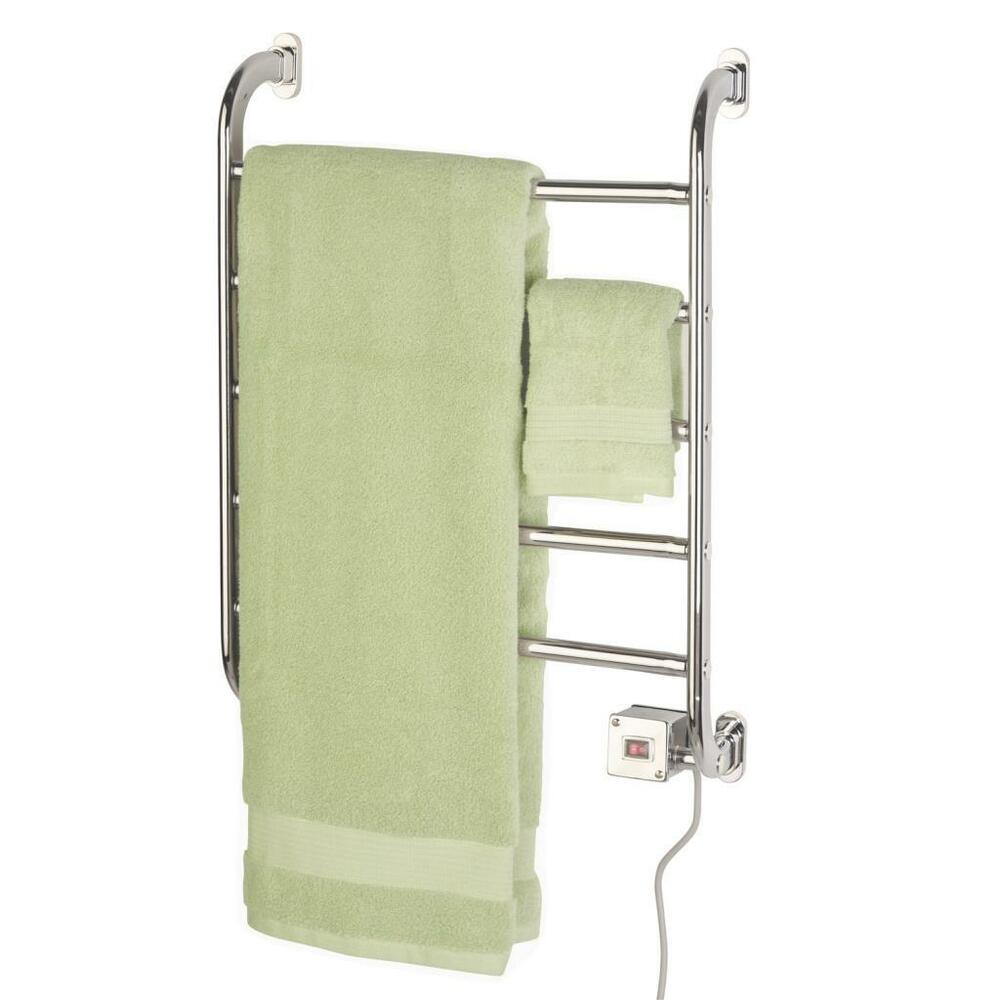 Heated Towel Rack Electric Warmer Wall Mount Bathroom Chrome Shower Luxury Pl