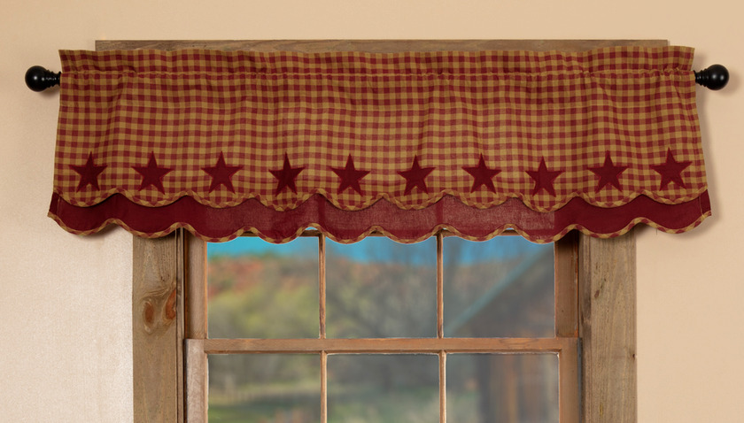 Curtains Ideas rustic curtain : BURGUNDY STAR LAYERED Window Valance Rustic Country Homespun Khaki ...