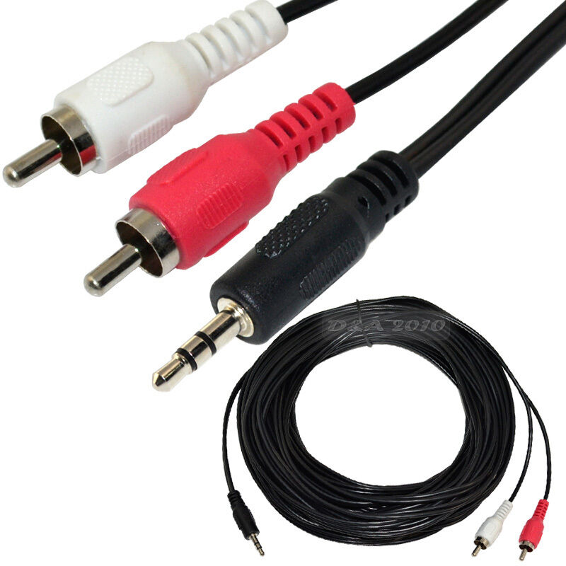 12 25 50ft 1 8 3 5mm Stereo Male Jack To 2rca Male Plug