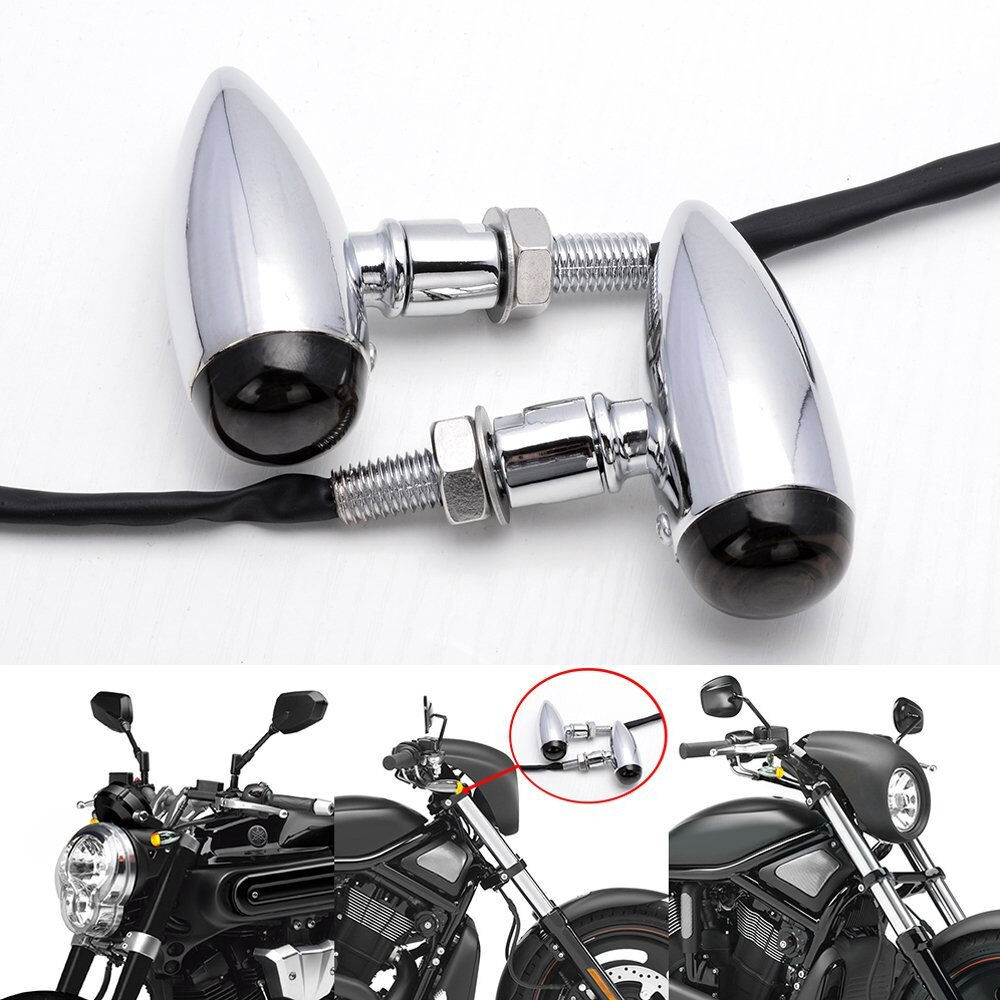Bullet Motorcycleled Mini Silver Smoke Turn Signal Cruiser