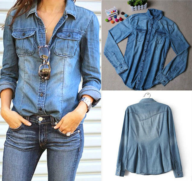Women ladies long sleeve blue jean denim shirt tops blouse for Blue denim shirt for womens