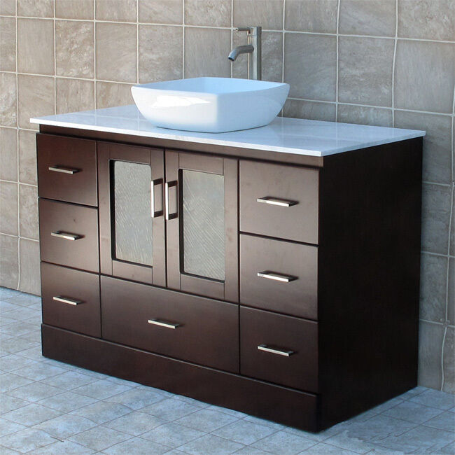 48 bathroom vanity cabinet white tech stone quartz top vessel sink faucet mc2 ebay. Black Bedroom Furniture Sets. Home Design Ideas