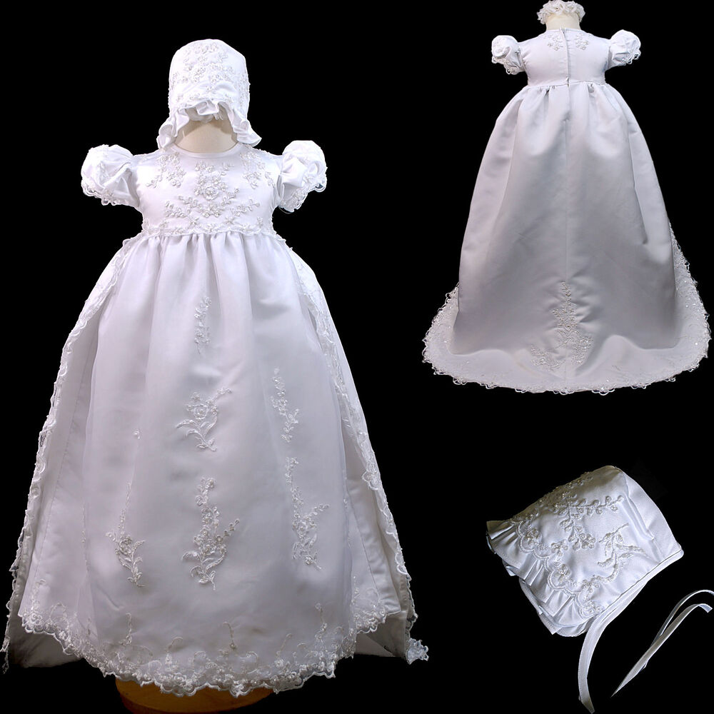 New baby girl toddler christening baptism formal dress for Making baptism dress from wedding gown