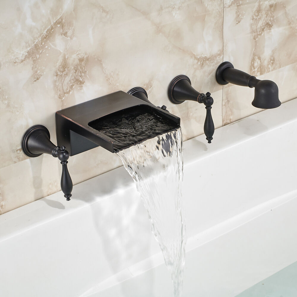 oil rubbed bronze waterfall bathtub 5pcs mixer faucet w hand shower