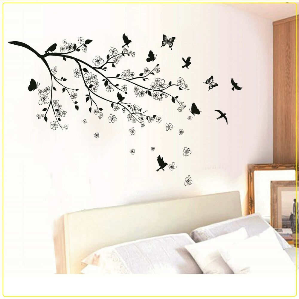 Black butterfly tree flower removable wall decals sticker for Black wall mural