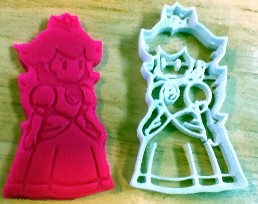 Princess peach cookie cutter super mario choice of sizes for 3d printer cake decoration