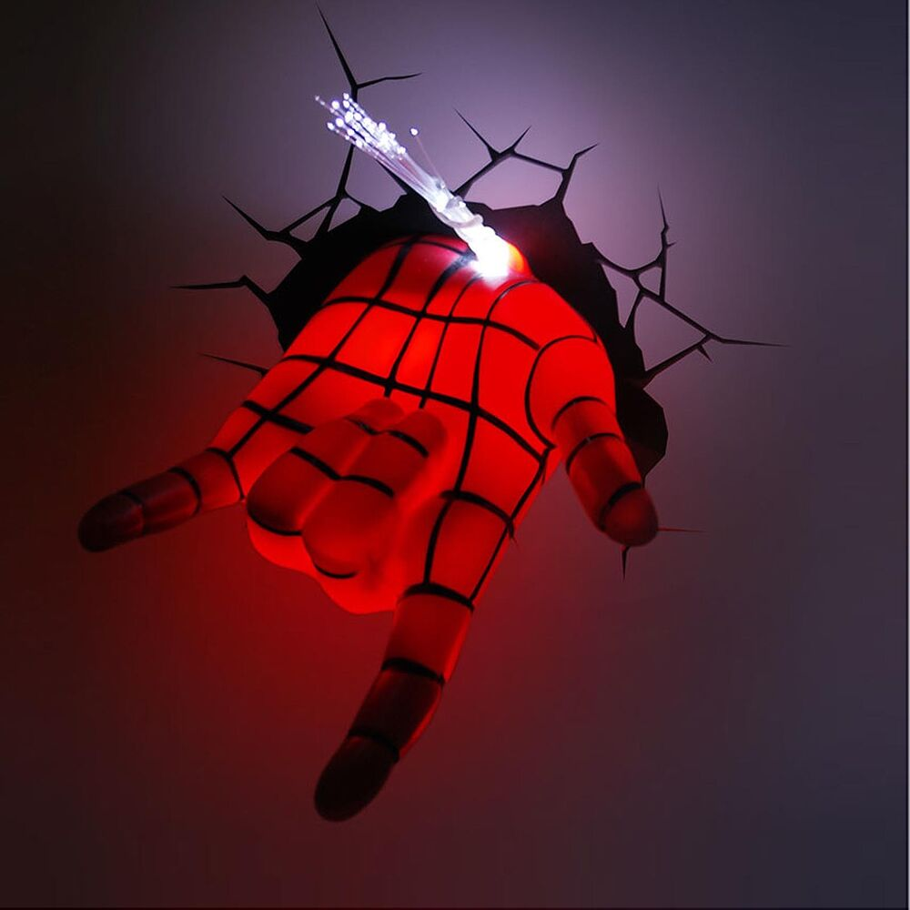 Wall Lamps Avengers : Marvel Avengers Spider Man Hand Art FX Room Decor 3D Deco Wall LED Night Light eBay