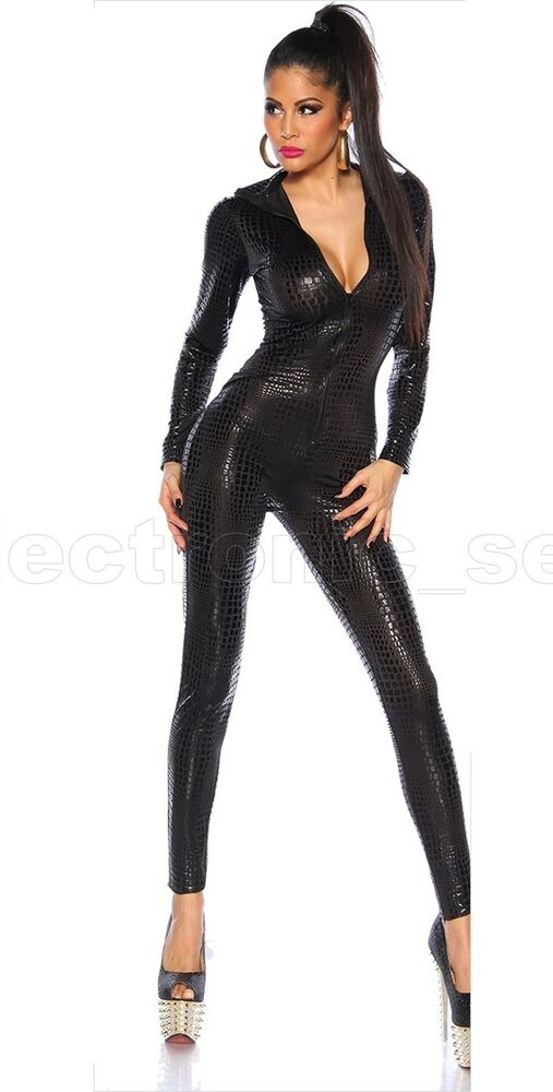 Cool Sexy Body Slim Snakeskin Catsuit Zipper Jumpsuit Body ...