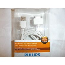 PHILIPS DLC2417 iPad/iPod/iPhone Sync/Charge Cable 2meters/6 feet White NEW