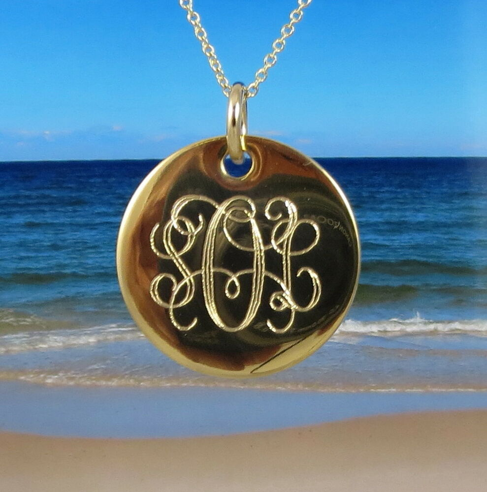 14k gold filled monogram necklace 7  8 u0026quot  disc - personalized
