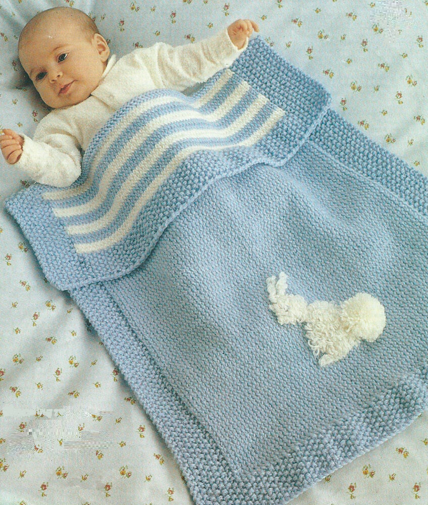 Knitted Baby Blanket Free Pattern : Baby Blanket Knitting Pattern Pram Cover DK Easy Knit 296 eBay