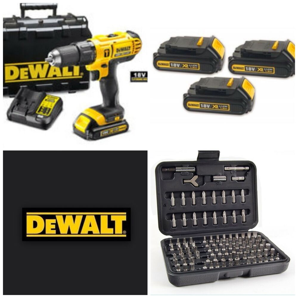 dewalt 18v cordless lxt combi drill x3 lithium batterys ebay. Black Bedroom Furniture Sets. Home Design Ideas