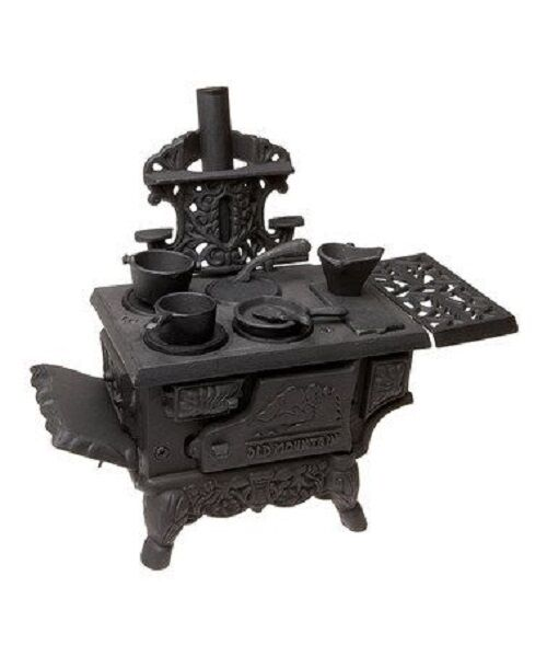 Old Mountain Cast Iron Cooking Oven Set Miniature Wood