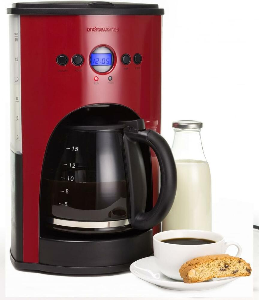 Andrew James 15 Cup Red Digital Filter Coffee Maker Machine Percolator 1.8L eBay
