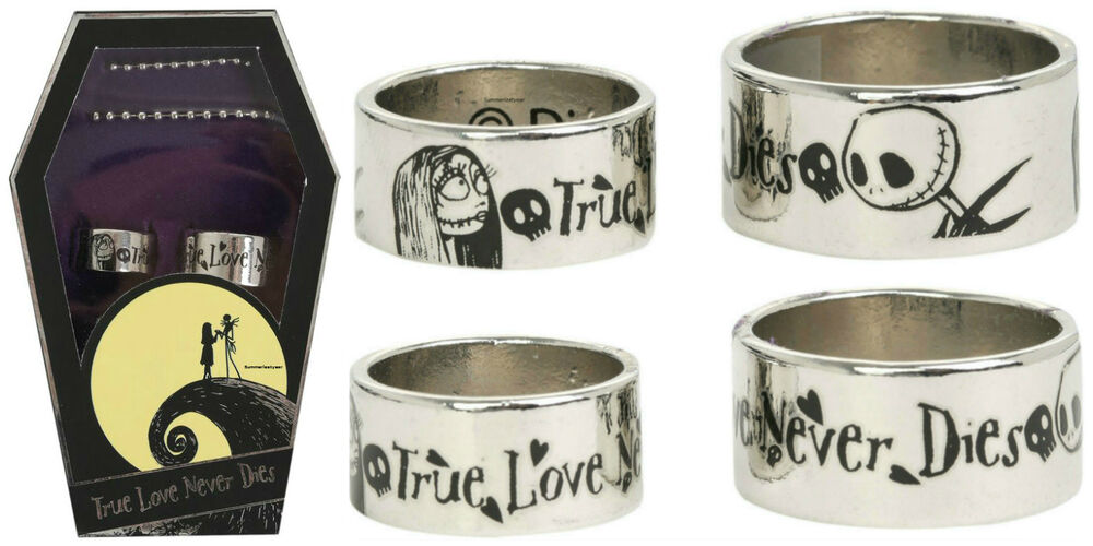 the nightmare before christmas his and her wedding ring set with coffin box ebay - Nightmare Before Christmas Wedding Rings