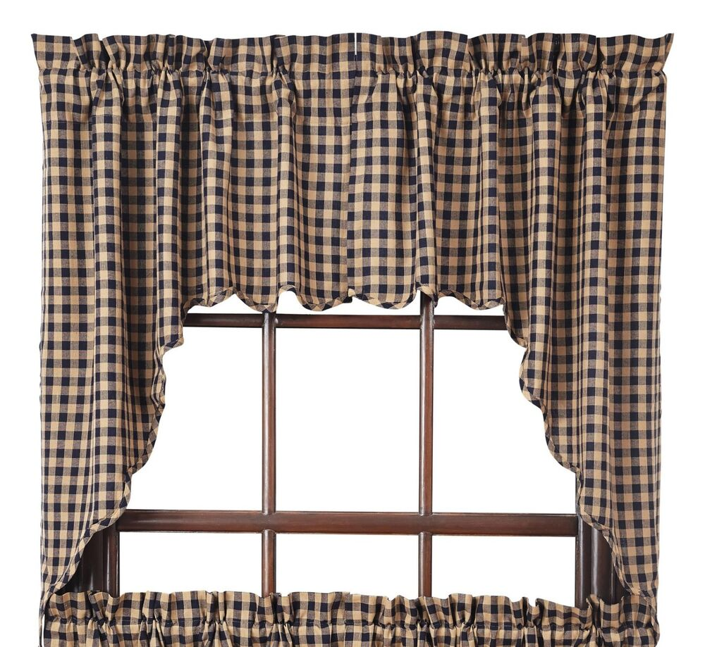 NAVY CHECK Scalloped Swag Set Rustic Khaki Plaid Primitive Country ...