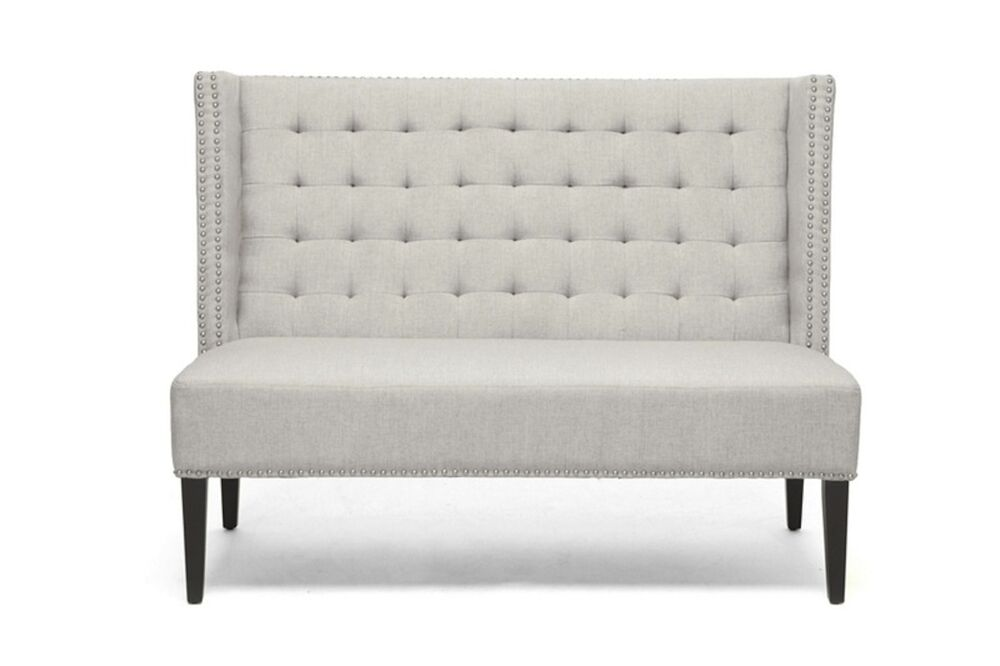 Beige Linen Fabric Modern European Nail Head Tufted Banquette Dining Bench Booth Ebay