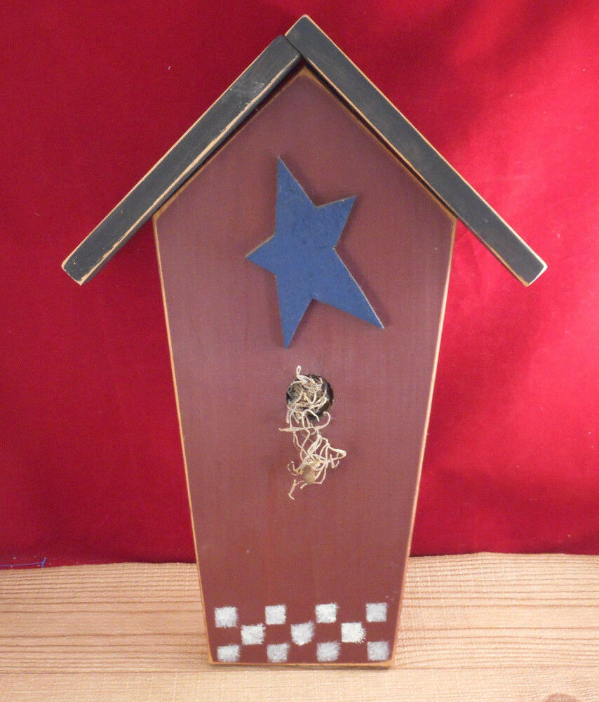Primitive country star wooden bird house hanging wall for Decor 17