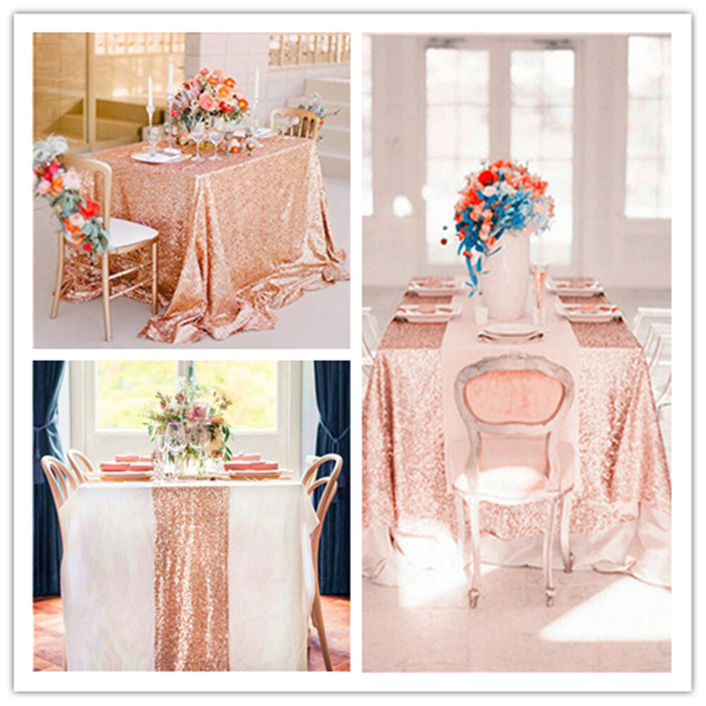 Rose Gold Sequin Table Cloth Shimmer Sparkly Overlays