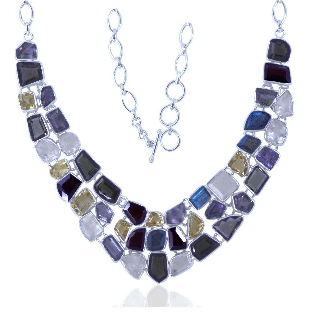 925 real sterling silver faceted multicolor stones