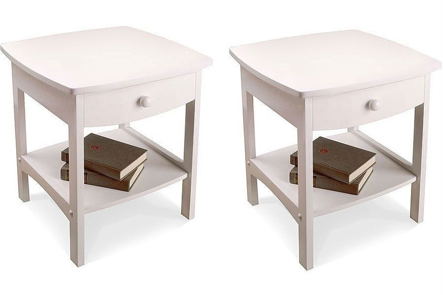 Nightstand Set Wooden End Table Pair Shelf Bedroom Bedside