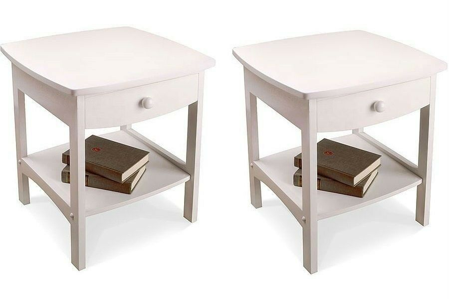 Nightstand set wooden end table pair shelf bedroom bedside for White wood nightstand