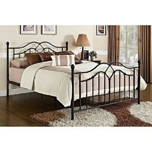 Full Size Victorian Metal Bed Frame Complete Headboard