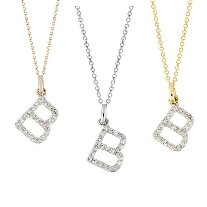 letter diamond alphabet b 14k real gold necklace initial With real gold letter pendants