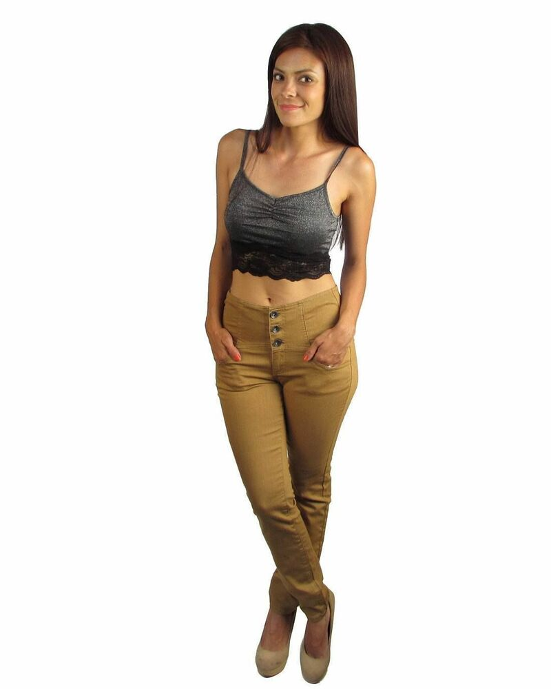 3 Button HIGH WAISTED SKINNY JEANS Colored Washed Denim ...