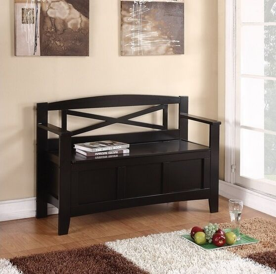 New Entryway Black Wood Storage Bench Seat Foyer Hallway