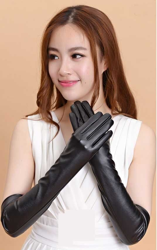 New Ladies Opera Evening Party Black Faux Leather Elbow ...