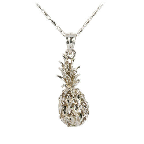 14k white gold pineapple pendant s hawaiian jewelry
