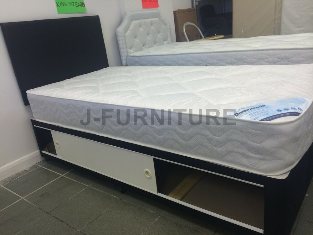 3ft Single Divan Bed In Black 22cm Deep Quilt Mattress Storage Headboard Ebay