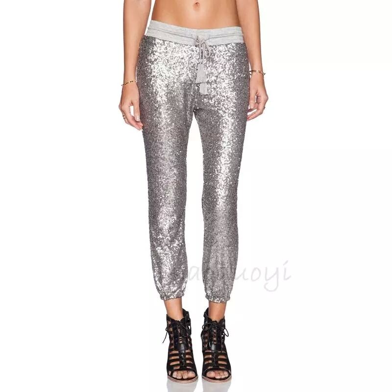 Celeb Style Silver Sequin Track Pants Women S Casual
